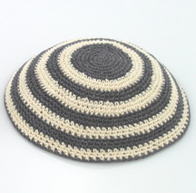 Knit Kippot with Gray and Beige Stripes